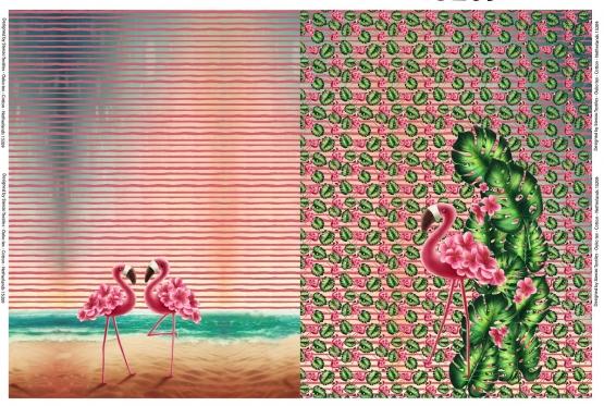 120 x 150 cm Stenzo-Panel Flamingo, 20€, Digital Print Jersey, 95% BW, 5% EL