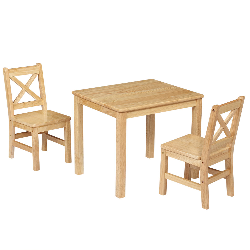 Ehemco Kids Table And 2 X Back Chairs Set Solid Hard Wood Natural