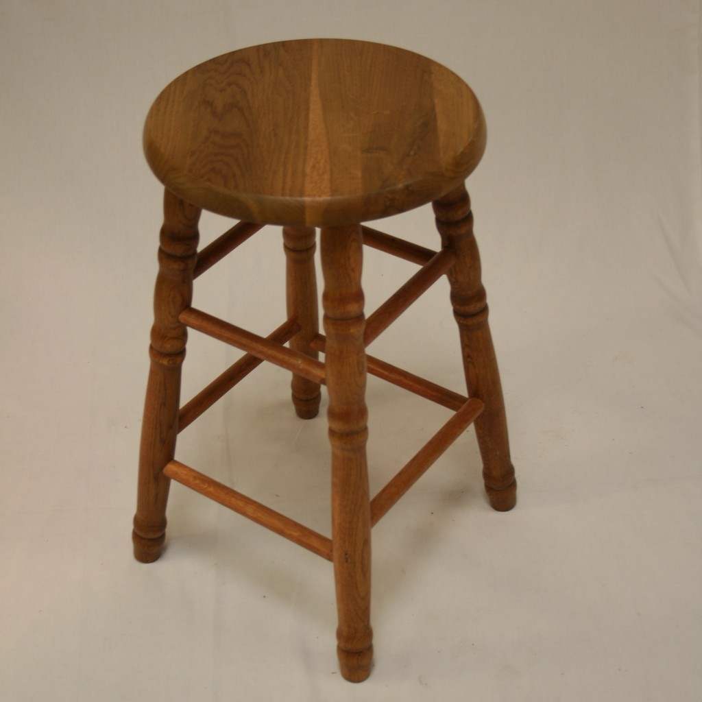 22 Quot Solid Oak Counter Stool Turned Legs Ehemco