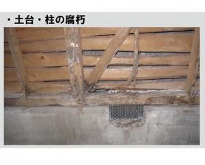 土台、柱部分の腐朽は白蟻害や建物の著しい劣化と耐久性を損なう