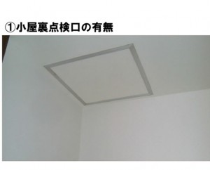 屋根裏点検口で見えない内部を目視検査する