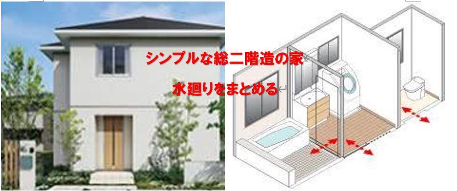 シンプルな造りの総二階住宅 水廻りをまとめる