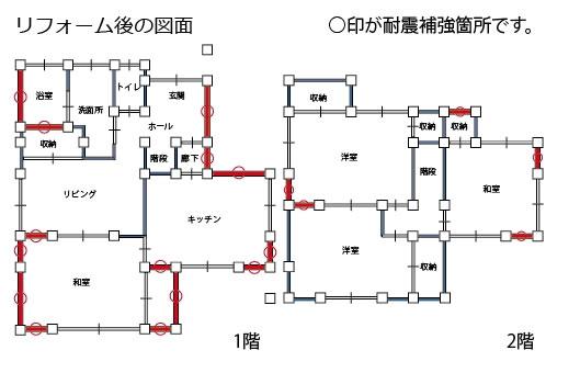 耐震改修工事が必要な箇所を示す施工図面