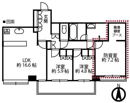 防音設備構築施工工事図