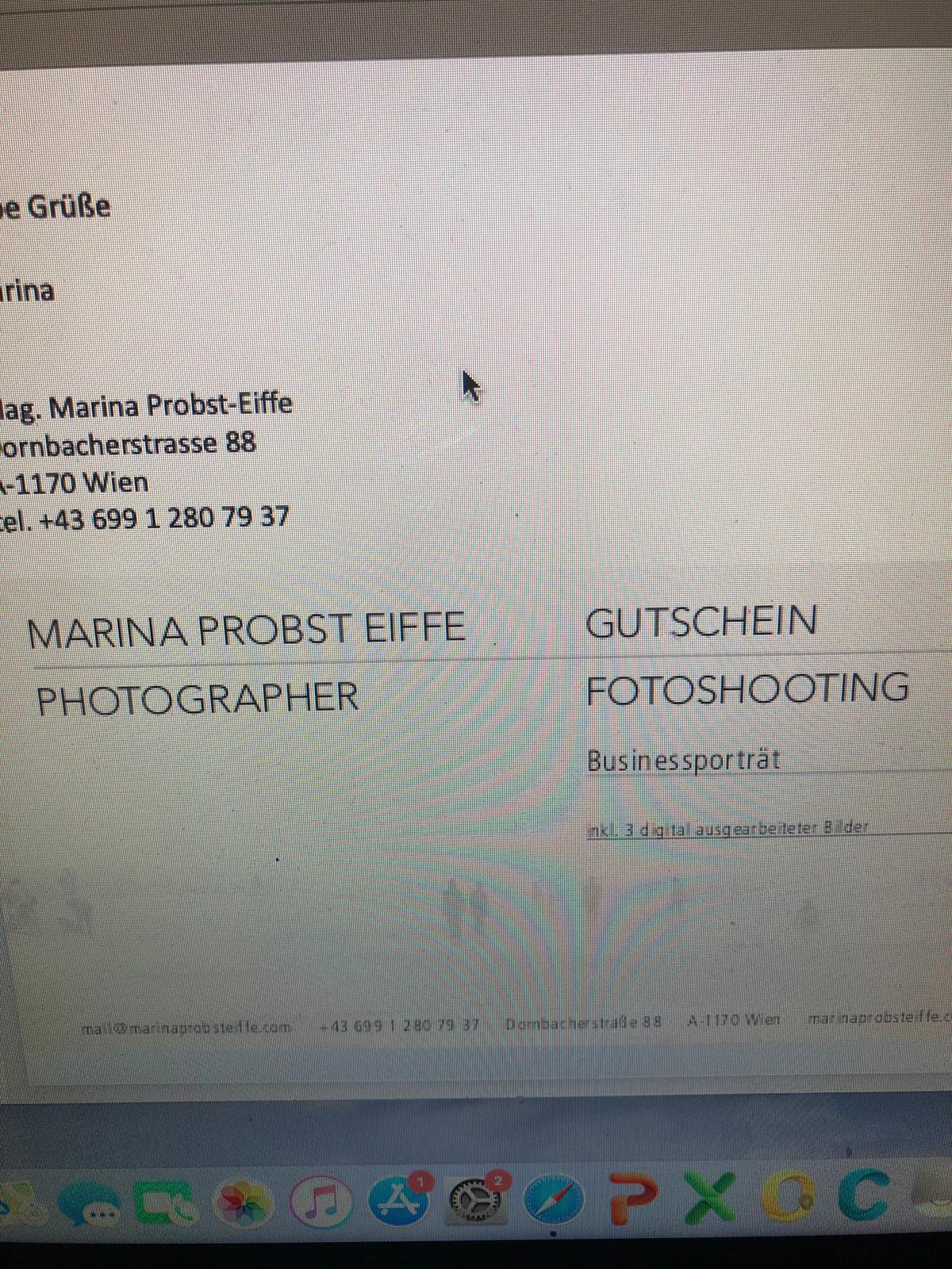Fotoshooting von Marina Probst Eiffe im Wert von €150
