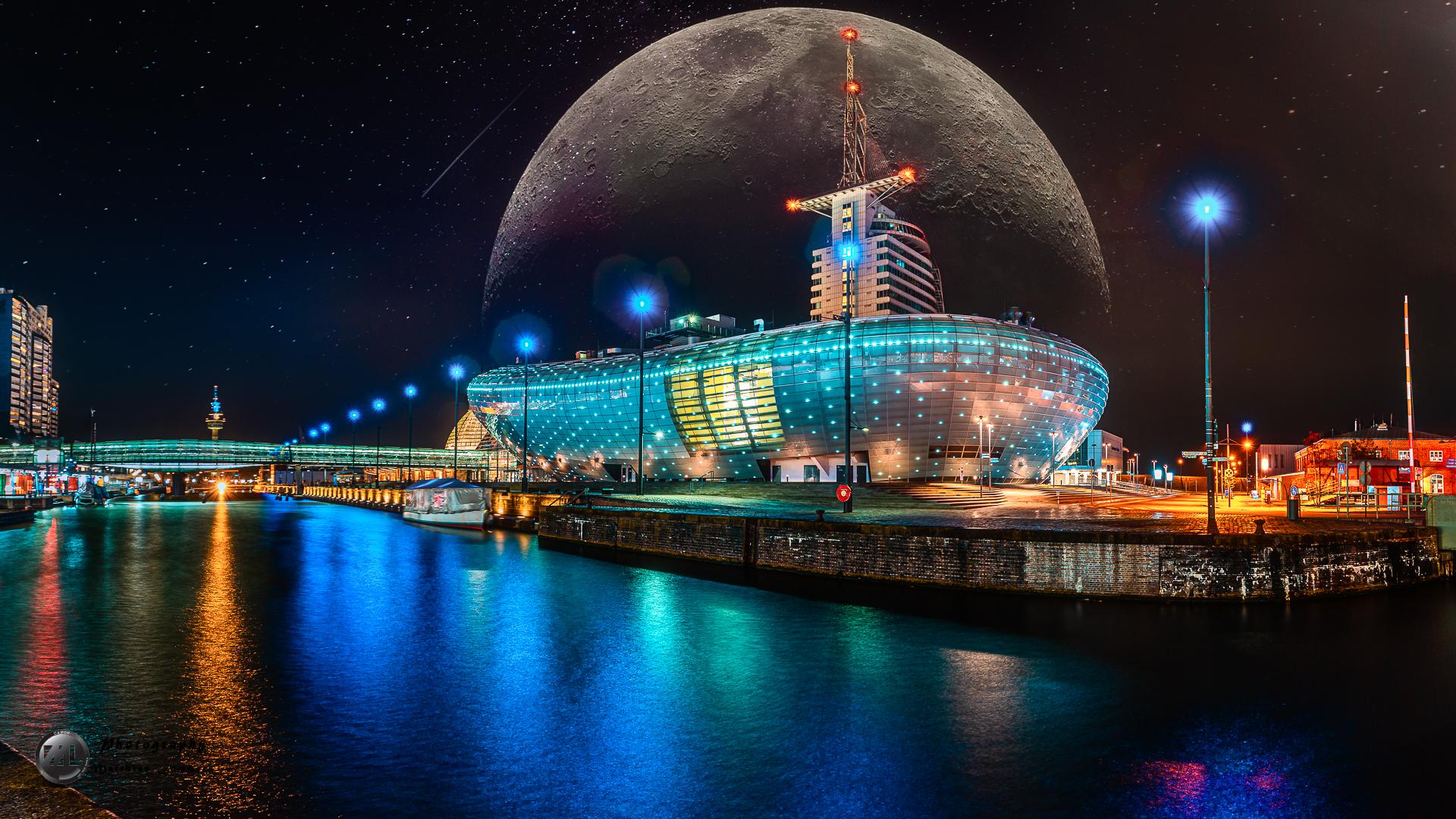 Klimahaus Brenerhaven bei Nacht
