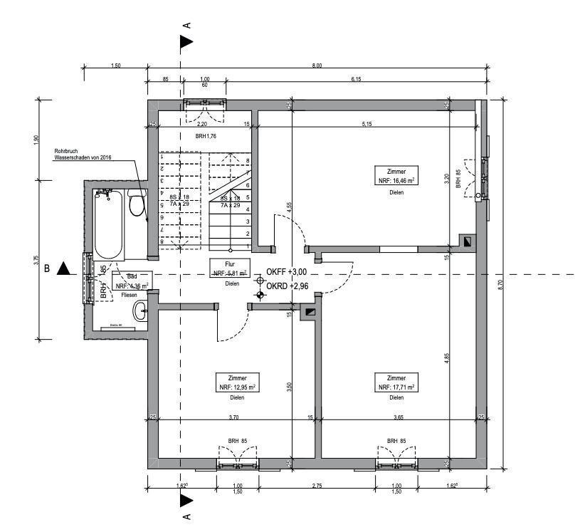 Grundriss Obergeschoss Haus Bestand