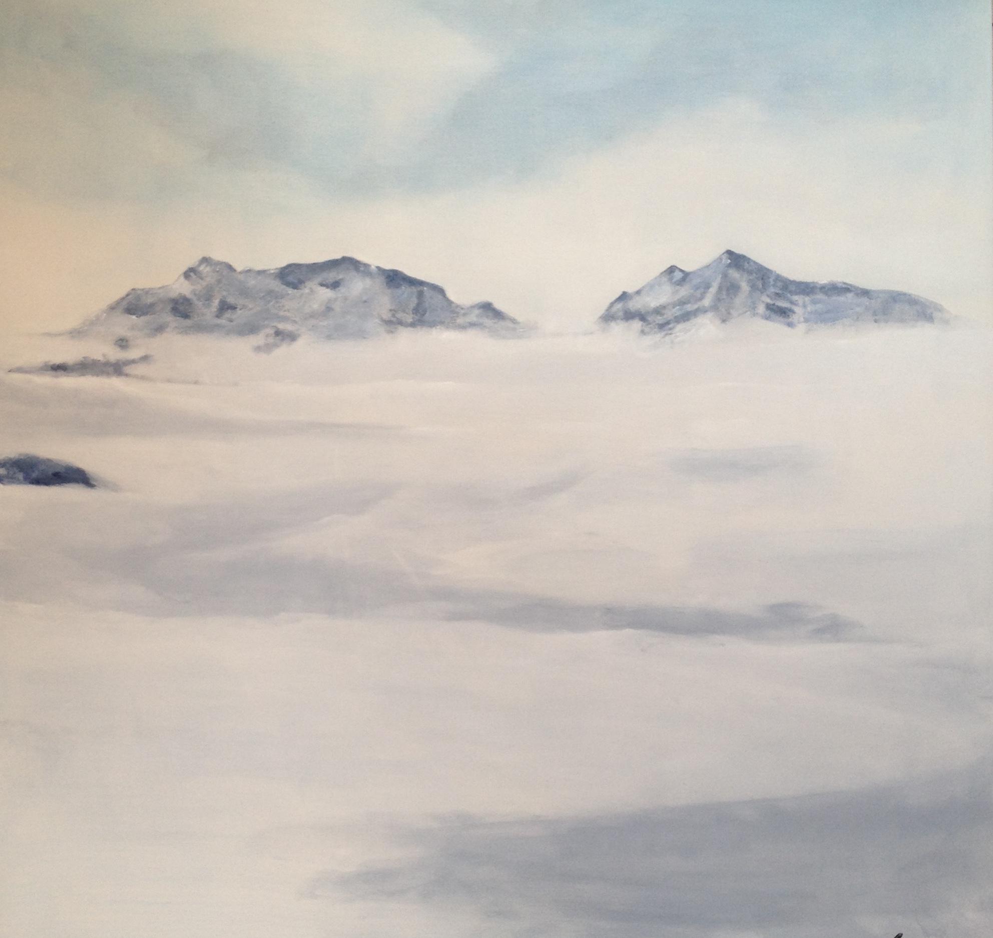 Nebelmeer, 110cm x 110cm Acryl auf Leinwand, unverkäuflich