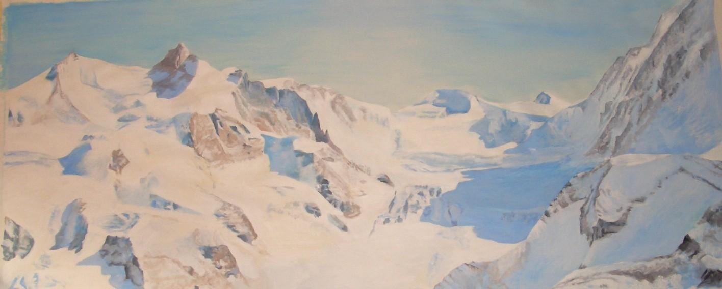 Rosegg Gletscher, 2008, Acryl auf Papier, 140x300