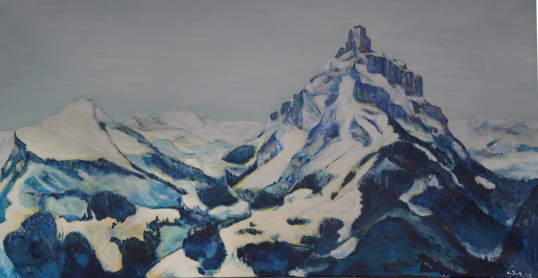 Mürtschenstock, 2012, Adryl auf Leinwand, 120x60