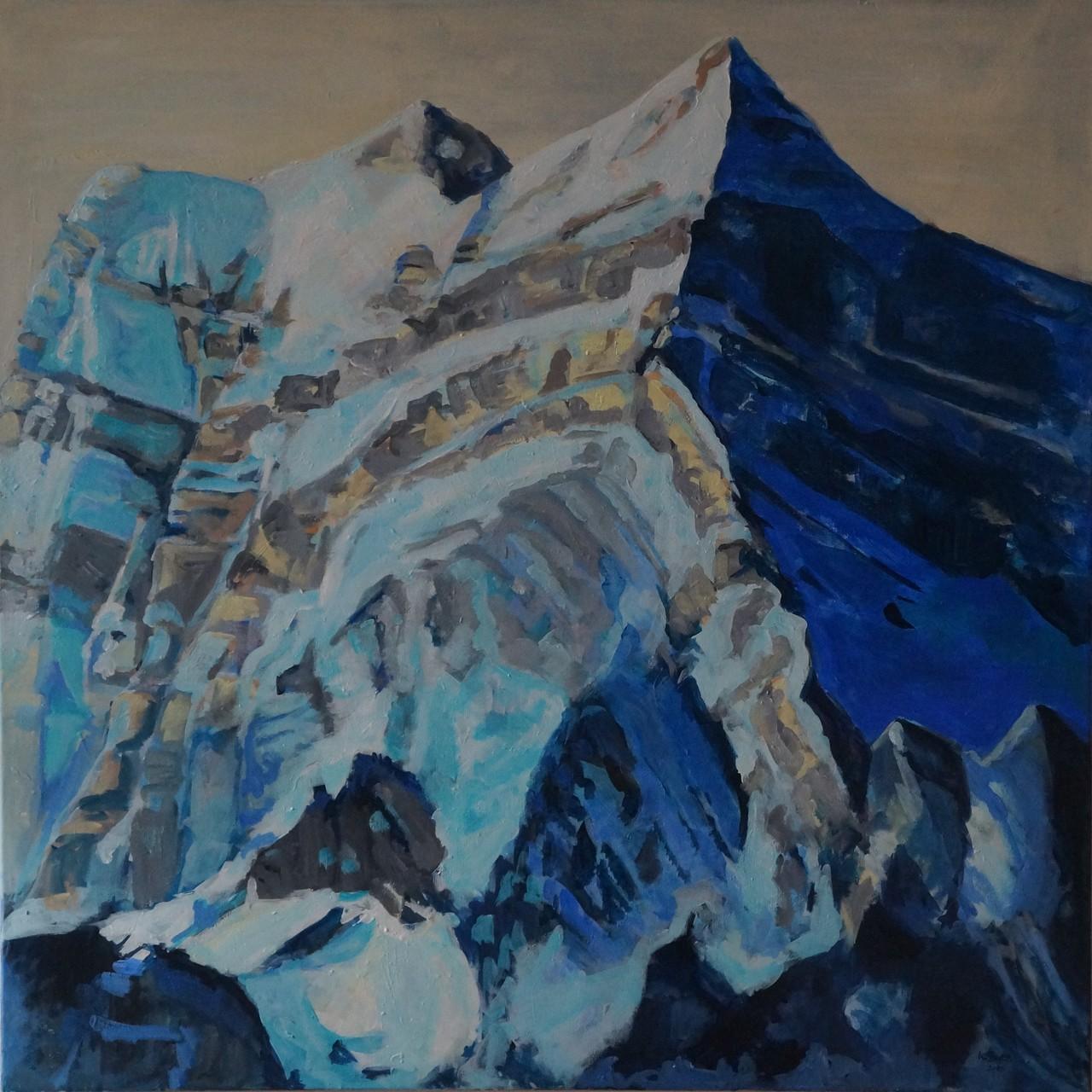 Wiggis und Rautispitz, 2010, Acryl auf Leinwand, 100x100