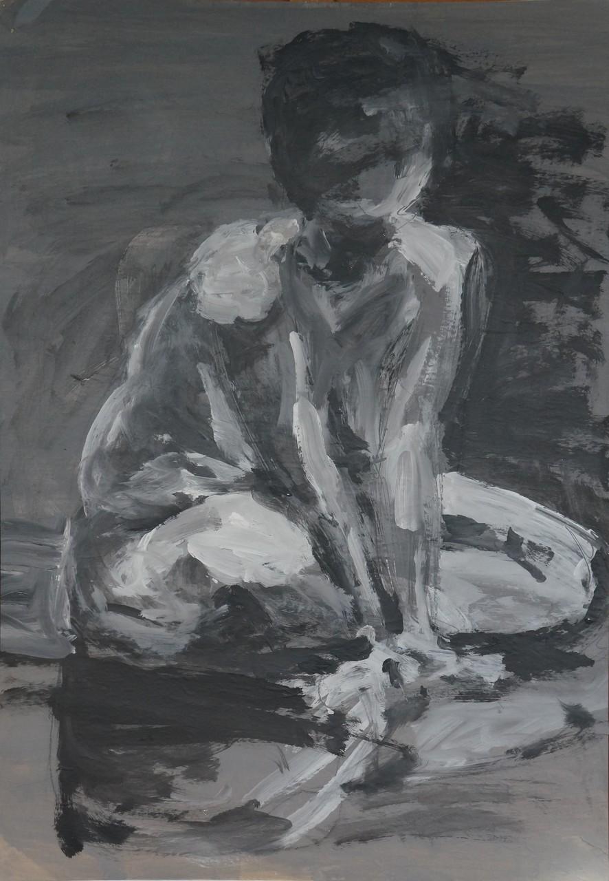 Sitzender Akt, 1994, Acryl auf Papier