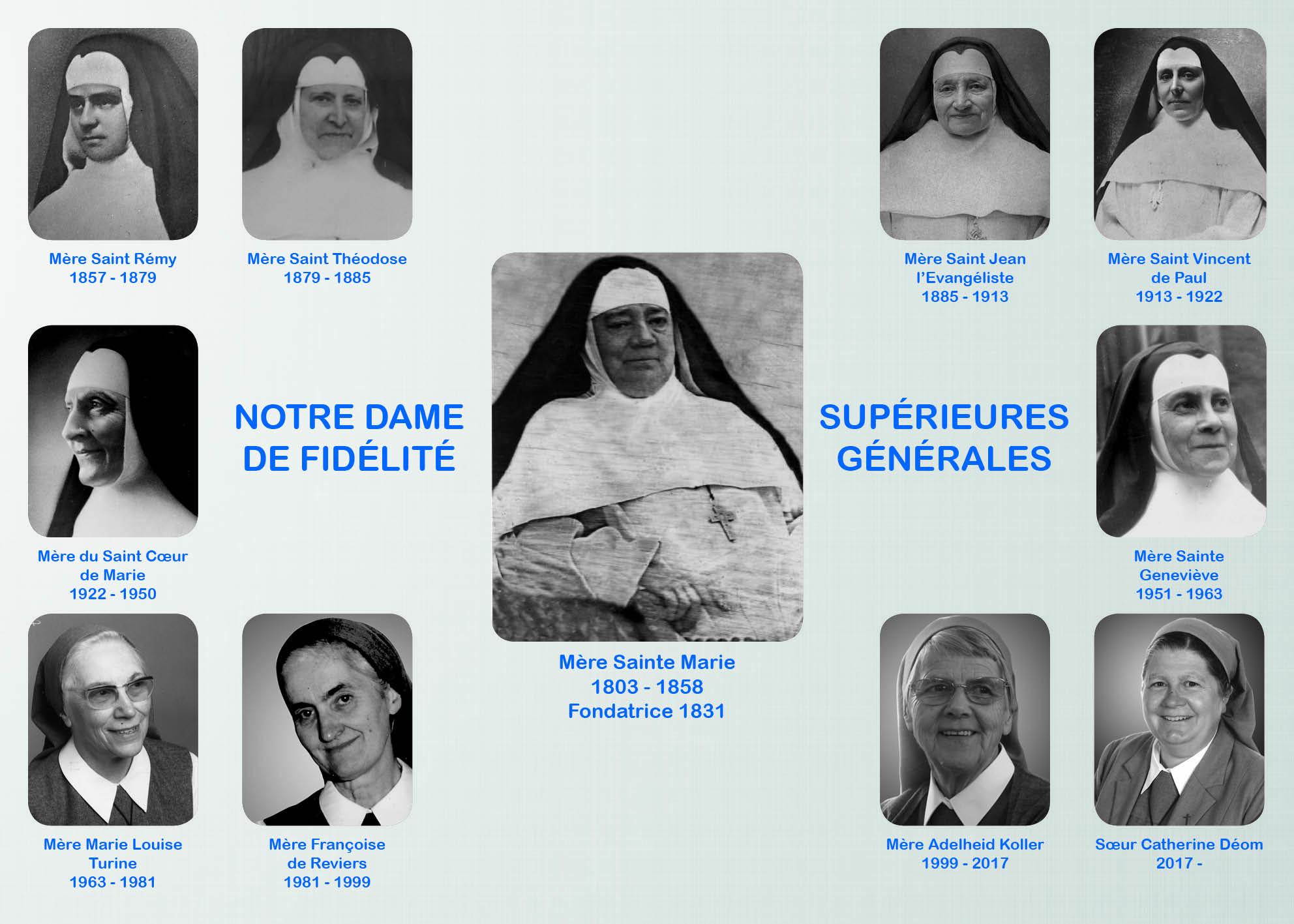 Tableau des dix Supérieures Générales  depuis Mère Sainte Marie