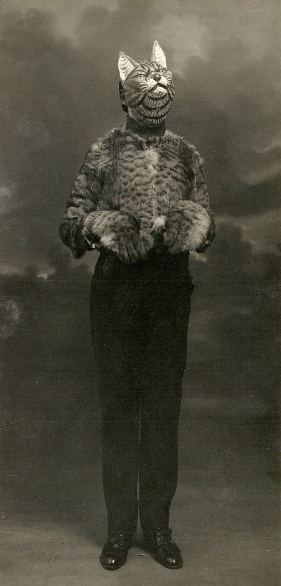 1920's photograph of Halloween cat costume