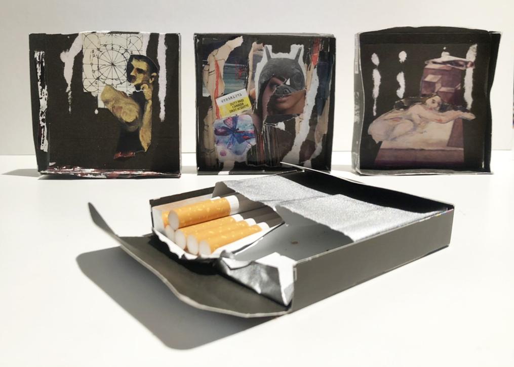 Cigarette box collage by Eron Boyd