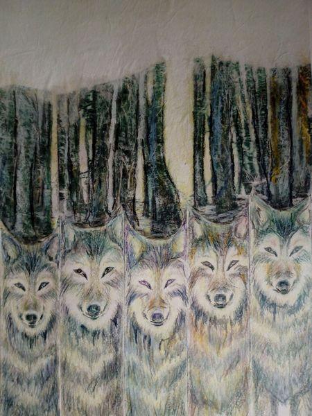 Stefanie Obmann - auf Papier Thema : Wölfe... in Mischtechnik