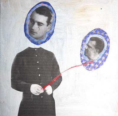 Sans titre, 2017, acrylique et collage sur toile contrecollé, 20 x 20  cm.