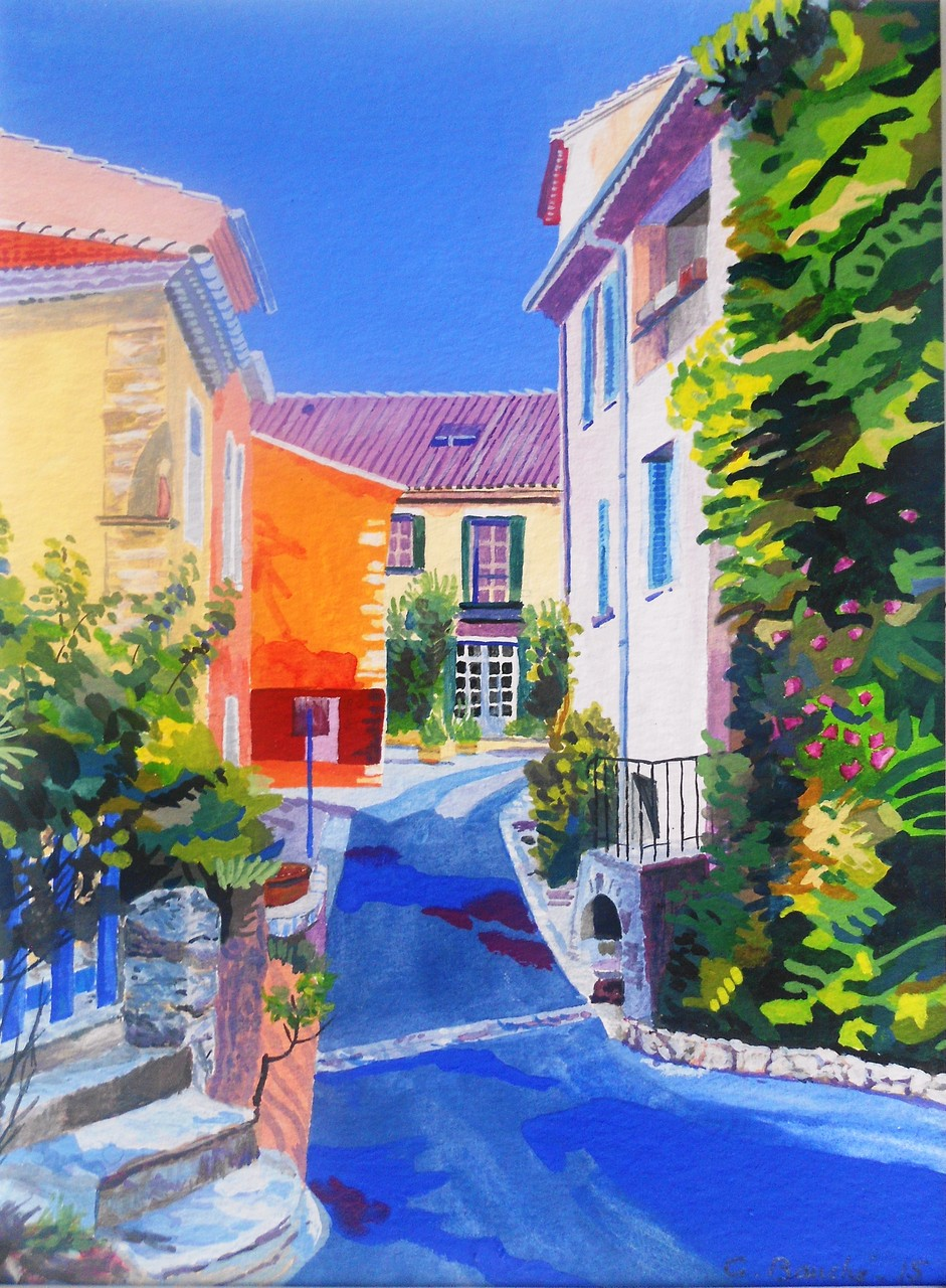 Rue à Ventabren - gouache - 62 x 52