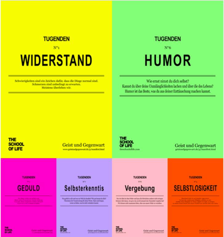 6 von 10 modernen Tugenden von Alain de Boston (übersetzt von Gilbert Dietrich auf www.geistundgegenwart.de)