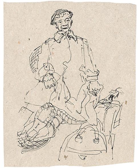 """""""Wartende"""", Zeichnung/Tinte"""