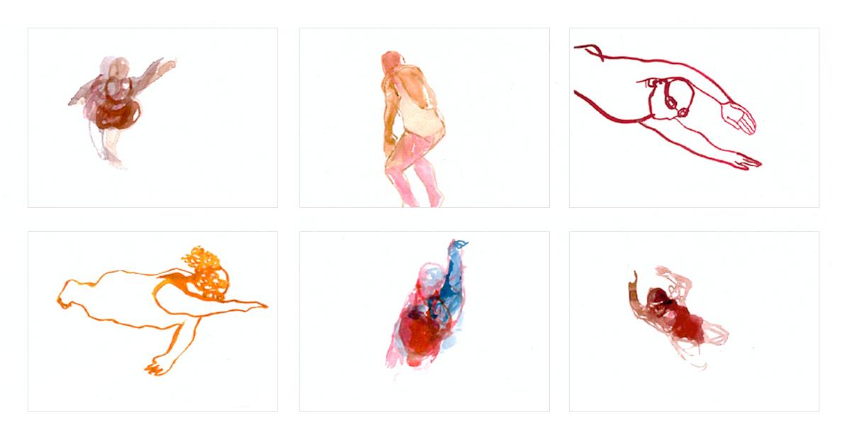 "Aquarellstudien ""Schwimmer"", Format 21 x 29 cm"