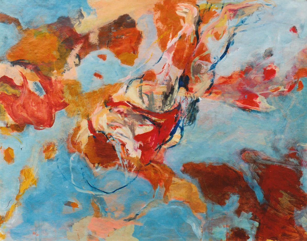"""""""Schwimmer IX"""" , Acryl auf Papier, Format 100 x 130 cm"""