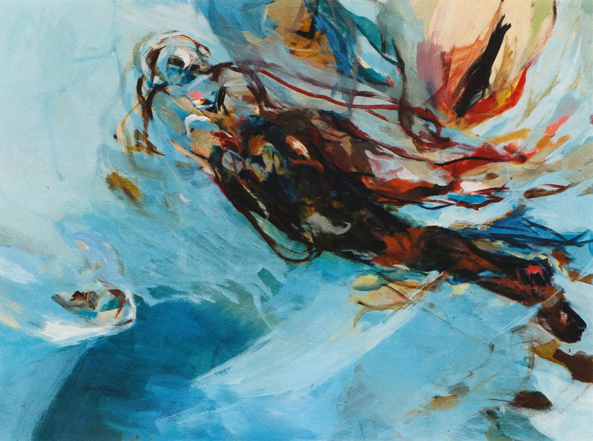 """""""Schwimmer XIII"""" , Acryl auf Leinwand, Format 100 x 130 cm"""