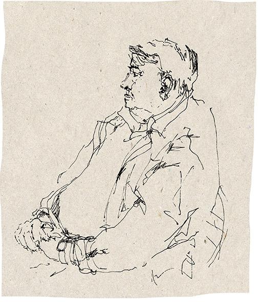 """""""Wartender"""", Zeichnung/Tinte"""