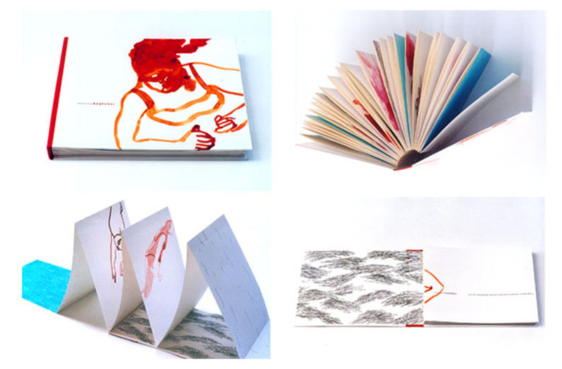 """Buchprojekt """"Kopfüber"""", Aquarell, Bleistift- und Wachsmalerzeichnungen, Text: """"Monolog der T. Jo im Mercey Krankenhaus"""" von Max Bense"""
