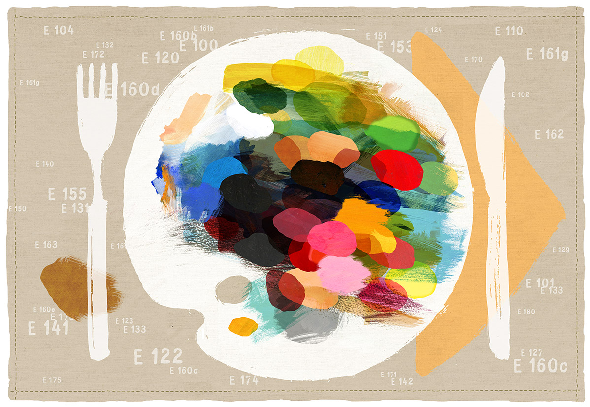 """""""Alles so schön bunt hier"""", Tischset 21 x 42 cm, Zeichnung/Malerei/digitale Collage, Ausstellungsprojekt von HAMBURG ILLUSTRIERT zum Thema """"Prost Mahlzeit"""", Galerie Kulturreich, Hamburg"""