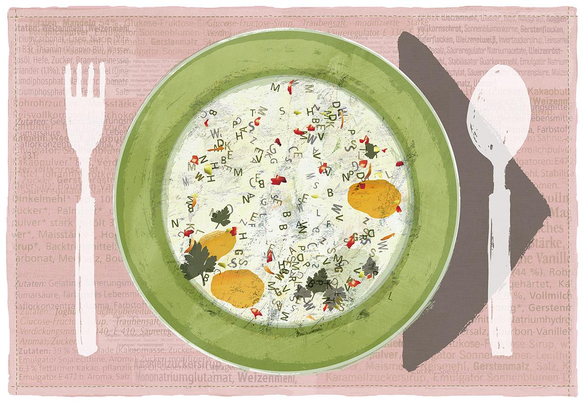 """""""Buchstabensuppe"""", Tischset 21 x 42 cm, Zeichnung/Malerei/digitale Collage, Ausstellungsprojekt von HAMBURG ILLUSTRIERT zum Thema """"Prost Mahlzeit"""", Galerie Kulturreich, Hamburg"""