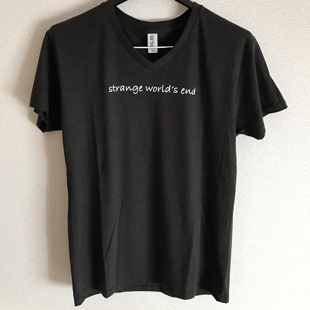 【NEW GOODS②】  strange world's end ロゴ メンズVネックTシャツ color / スミクロ S / M / L  ¥2,000