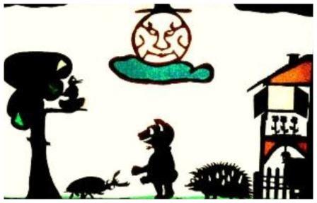 Bärchen Taps fragt seine Tierfreunde nach dem Bollerwagen auf dem Hügel
