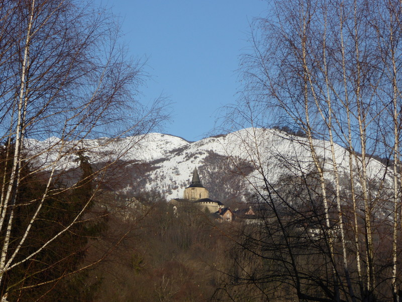 Vue sur l'abbatiale de Saint Savin depuis Adast