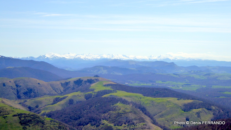 """Panorama vers la chaîne des Pyrénées avec naturellement """"Jean-Pierre"""" au milieu"""