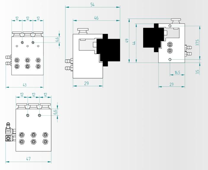 流路切替バルブ回路の図面