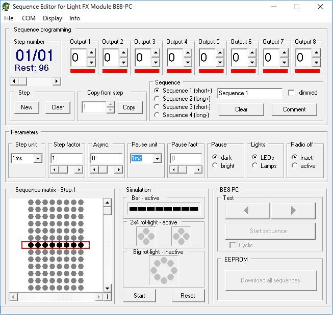 BE8-PCの点滅パターン設定画面