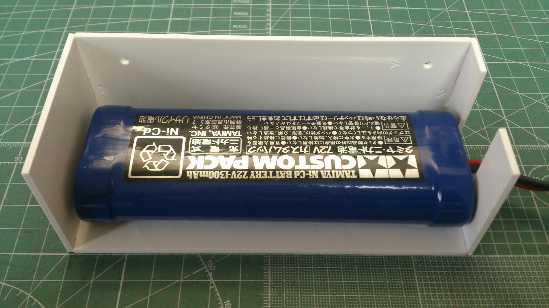 電池ボックスに電池を収納したところ