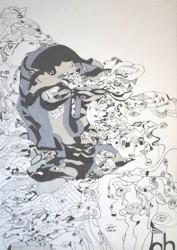 Paparazzi, 42x59 cm, Tusche und Polychromos auf Papier