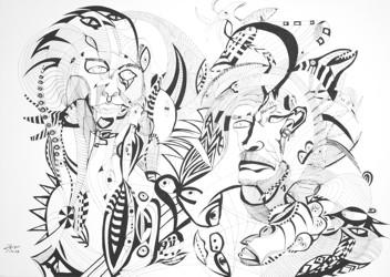 Faces, 70x50 cm, Tusche auf Papier