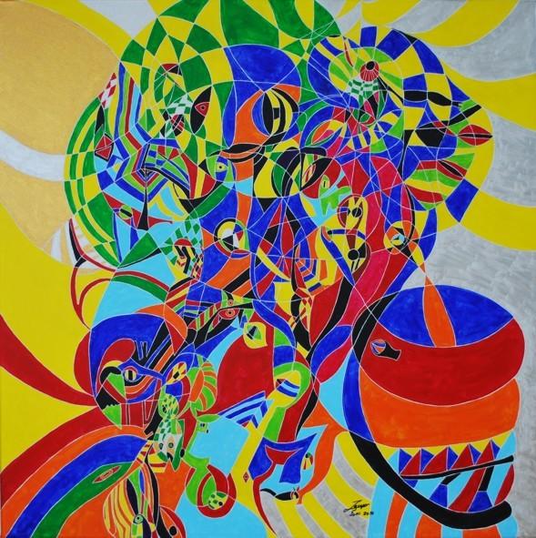 Mosaikbild, 100x100cm, Acryl