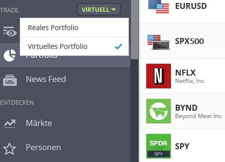 eToro - Wechsel zwischen virtuellem und realem Portfolio