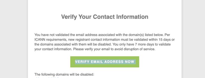 こんなメール本文。 緑のボタン部分のリンクをクリックしましょう!