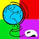 Symbol aus der Webseite Visa pour le net. Es zeigt einen Globus und eine Computermaus auf buntem Hintergrund. Es bedeutet Zugang ins Internet für alle .