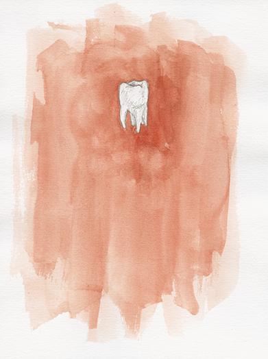 Zahn, Aquarell auf Papier, 13,9 x 21,6cm, 2016