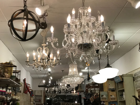 crystal chandelier brass antique vintage shabby chic white cream painted custom distressed farmhouse platypus magnolia farms refinished interior design lighting painting new jersey chester local cheap inexpensive new home furnish decorate country grey
