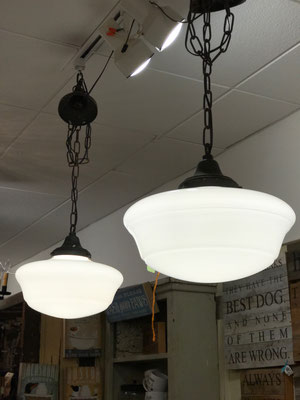schoolhouse light hanging light white kitchen chandelier small business local shops antique vintage old school house interior design designer industrial
