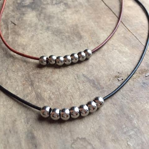 sterling silver leather collarbone choker rustic jewelry necklace payton local small business nautical beach gift chain pearl wrap cuff stones earthy simple delicate lotus moon charms infinity circle vibes rough woman owner women chester nj