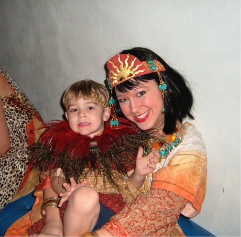 Son Bennett with a music education student backstage at UNL's 2005 opera The Magic Flute.