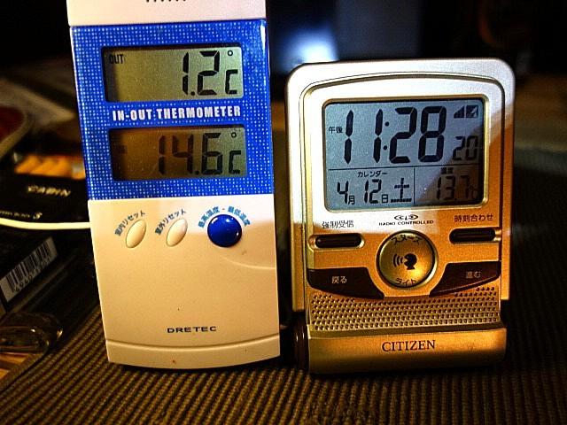 灯油ストーブでテント内は15℃。ちょうどいい暖かさ。でも外は春でも寒い。